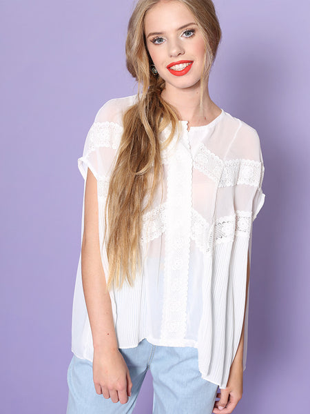Dahlia Savannah White Chiffon Blouse with Pleats and Lace Details