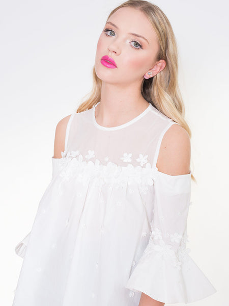 Dahlia Talia White Cold Shoulder Top with Applique Flower Trim