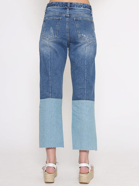 Dahlia Tracey Denim Jeans With Frayed and Patch Details