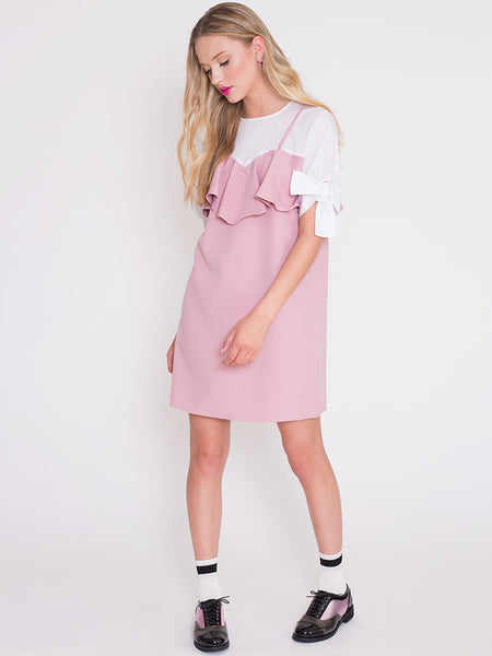 Dahlia Viola 2 in 1 Dress with White Tie Sleeve Blouse and Pink Slip Dress
