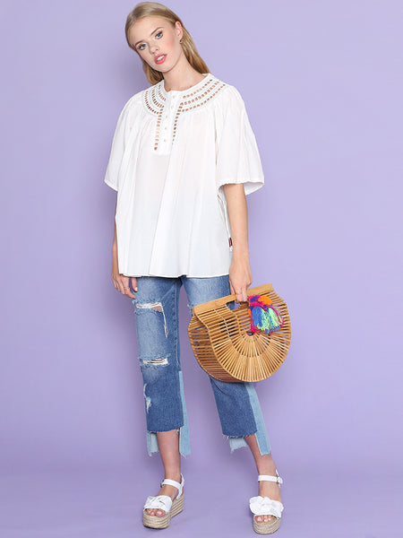 Dahlia Zara White Smock Blouse with Broderie Neck Detail and Tie Sleeves