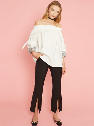 Zosia White Cotton Off The Shoulder Top with Tie & Embroidered Sleeves