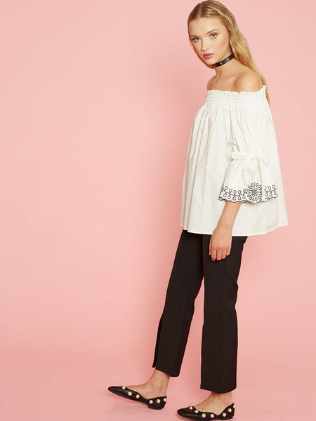 Dahlia Zosia White Cotton Off The Shoulder Top with Tie & Embroidered Sleeves