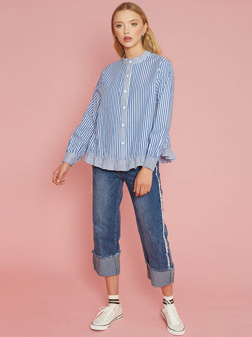 Chanel Blue Stripe Blouse with Contrast Stripe Frill & Cuffs