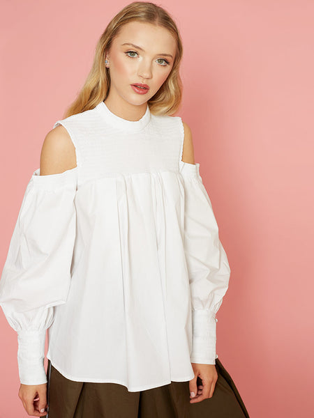 Dahlia Charlize White Cold Shoulder Blouse with Shirring Yolk and Cuffs