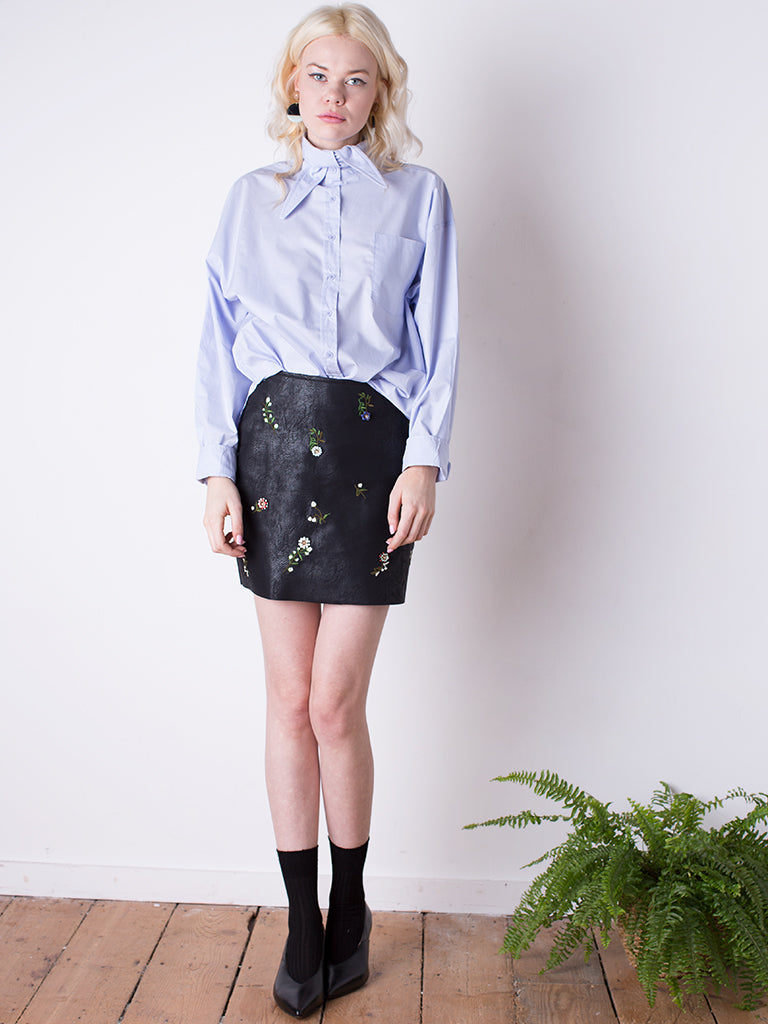 Pale Blue Shirt & Flower Trim Skirt