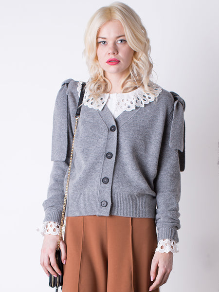 Grey Bow Shoulder Cardigan