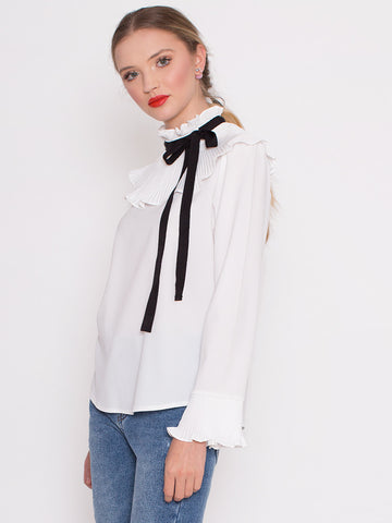 Kerry White Blouse with Pleated Oversized Collar and Black Neck Tie