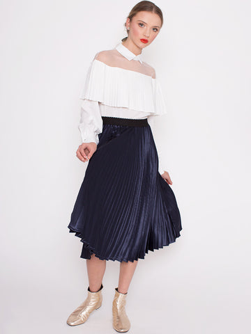 Clem Navy Metallic Pleated Skirt with Elasticated Waist