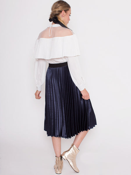 Dahlia Kim White Blouse with Mesh Yolk and Oversized Pleat Frill