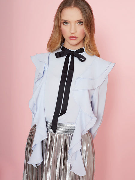 Dahlia Laura Blue Frill Front Blouse with Black Neck Tie