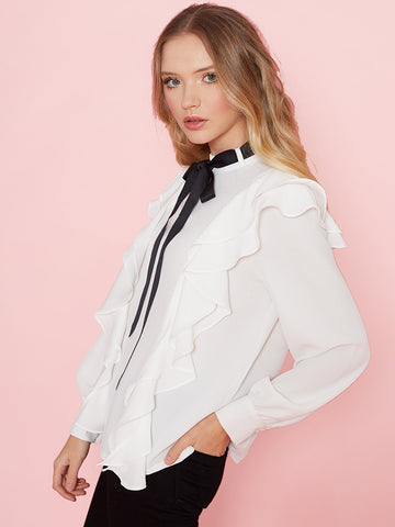 Laura White Frill Front Blouse with Black Neck Tie