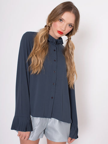 Michelle Green Longer At The Back Blouse with Pleated Collar and Cuffs