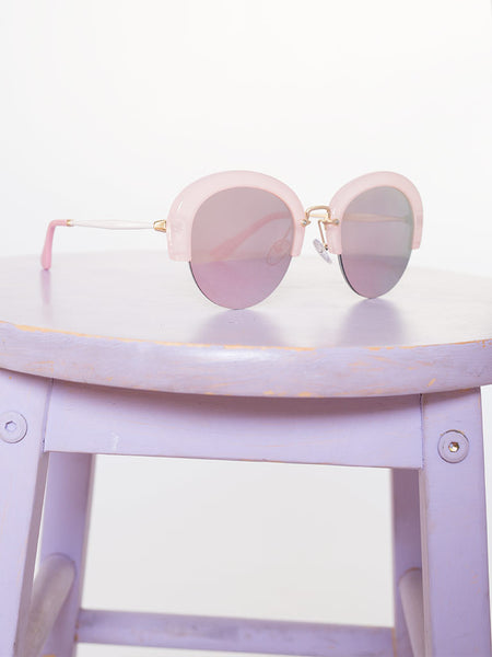 Dahlia Pink Plastic Brow Bar Sunglasses with Pink Mirrored Lenses
