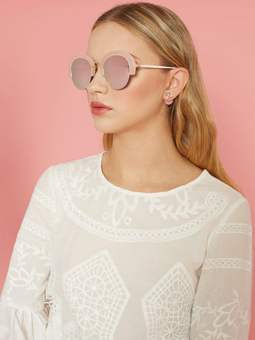 Pink Plastic Brow Bar Sunglasses with Pink Mirrored Lenses