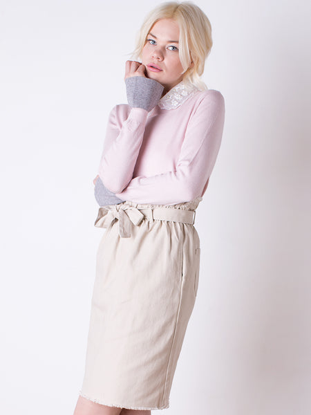 Pink Jumper and Beige Skirt