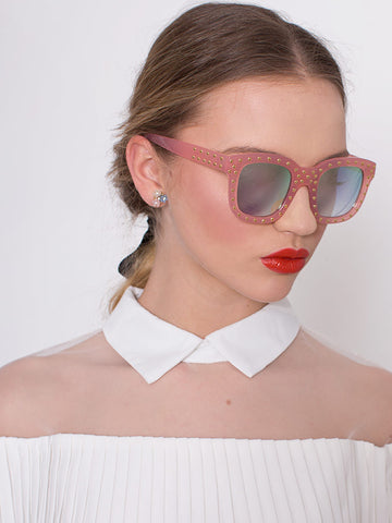 Pink Frame Studded Glasses with Mirrored Lens