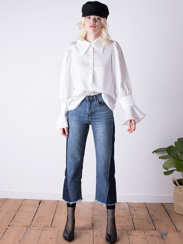White Pointy Collar Blouse