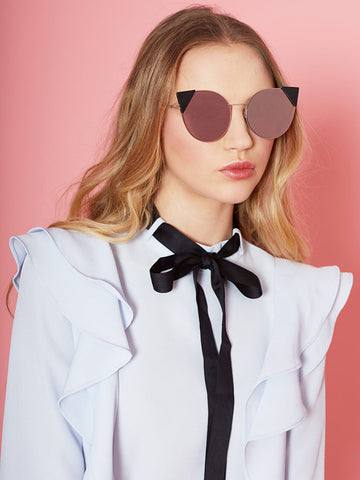 Black Triangle Detail Cat Eyes Mirrored Sunglasses