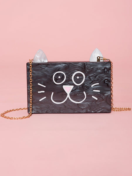 Dahlia Woolwich Black Marbled Effect Cat Face Hard Case Bag