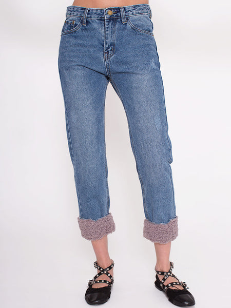 Dahlia Zsa Zsa Denim Jeans with Faux Fur Turn Ups