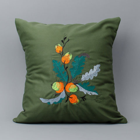 Acorn Embroidered Pillow