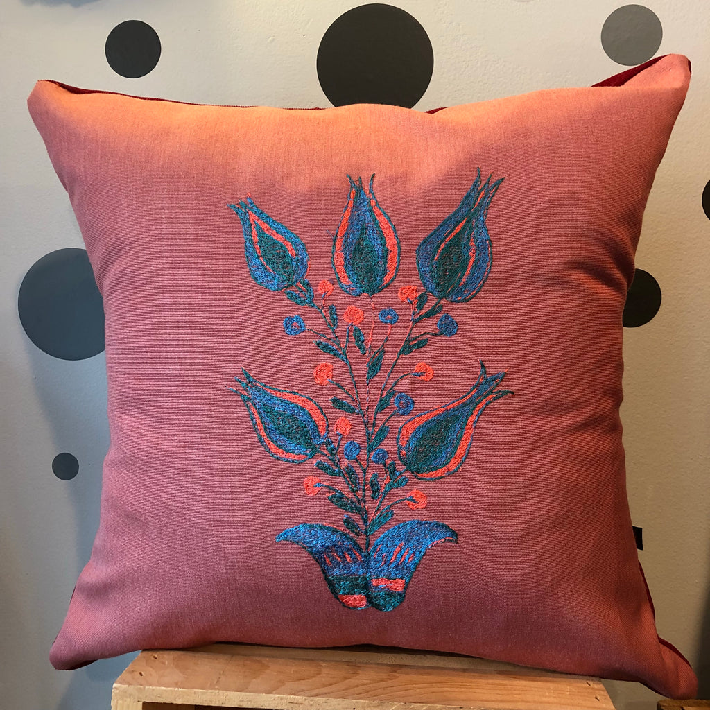 Folk Art Flower Pillow (#1)
