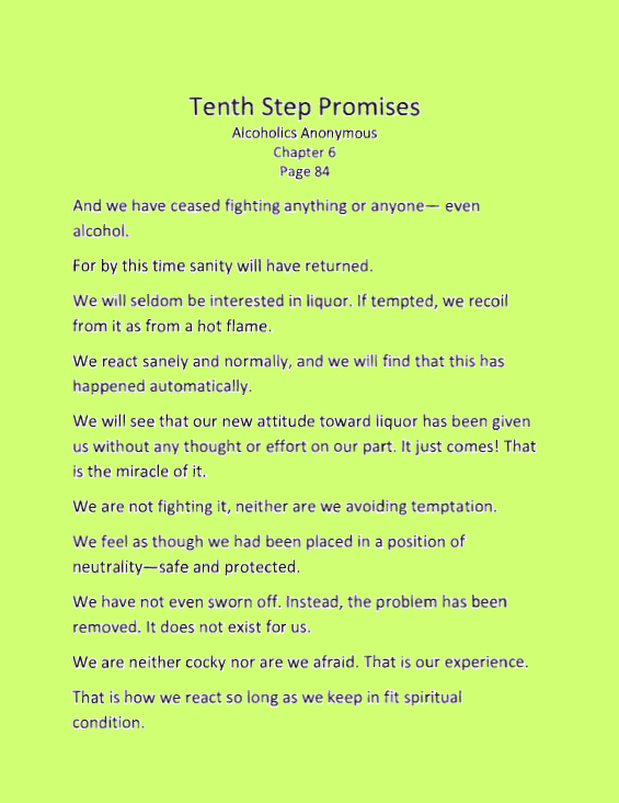 picture relating to Aa Promises Printable known as The 10th Action Statements