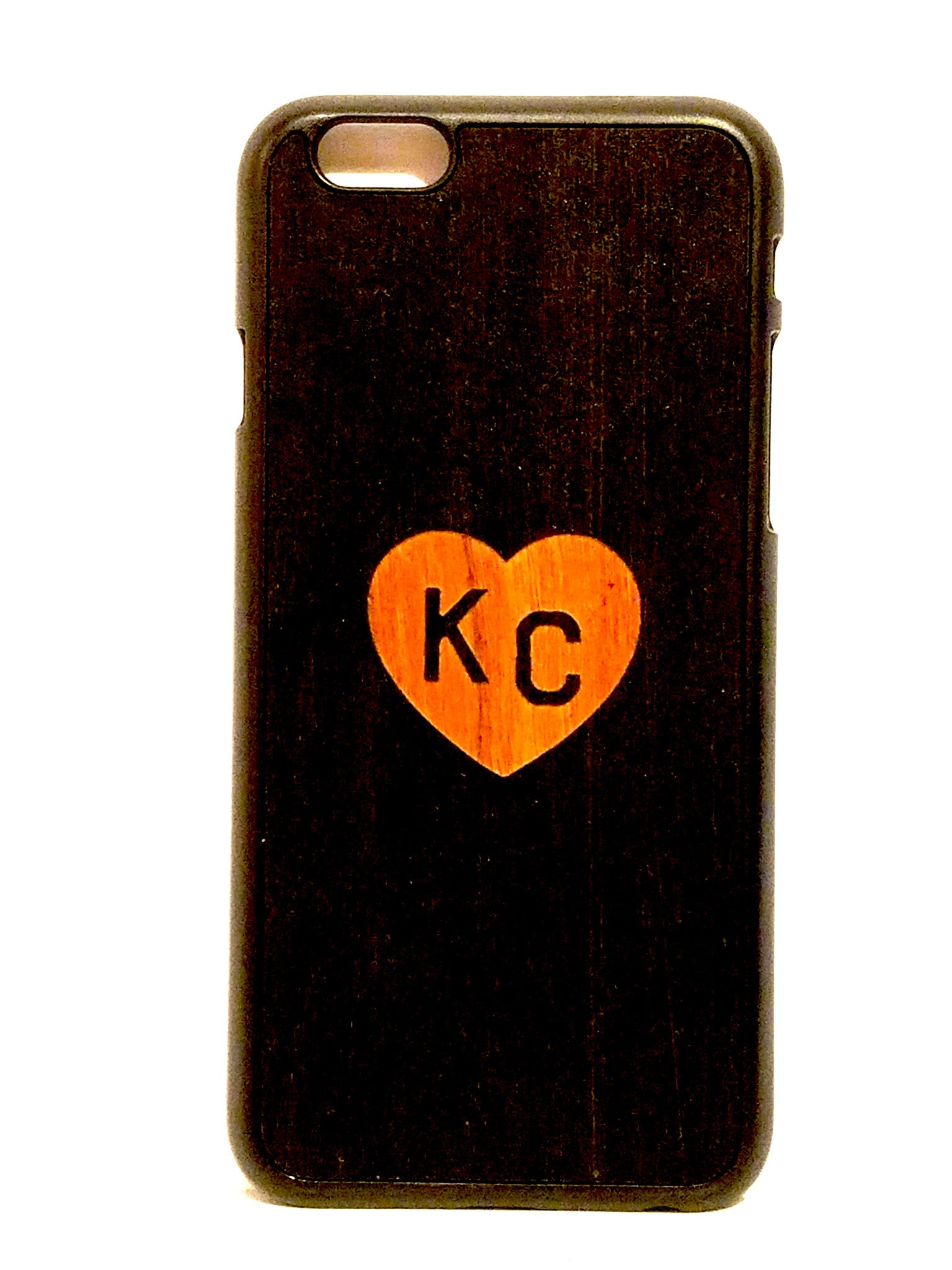 "Black ""Heart KC"" snap case for iPhone 6"