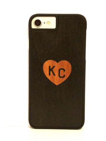 "Black ""Heart KC"" snap case for iPhone 7"