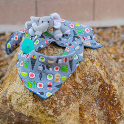 Infant Bib and Pacifier Holder and Burp Cloth set