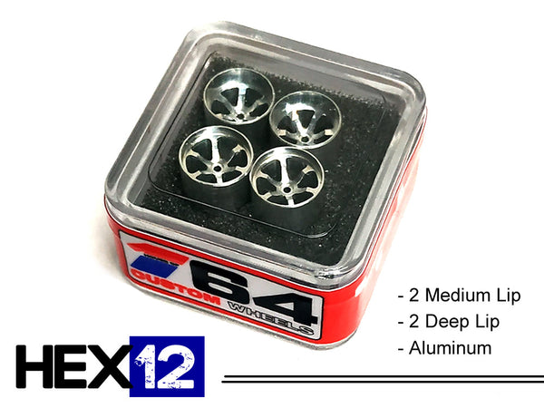House Of 164 - Wheels - HEX12 - aluminum 2 deep 2 medium - aluminum (2 deep lip; 2 medium lip)