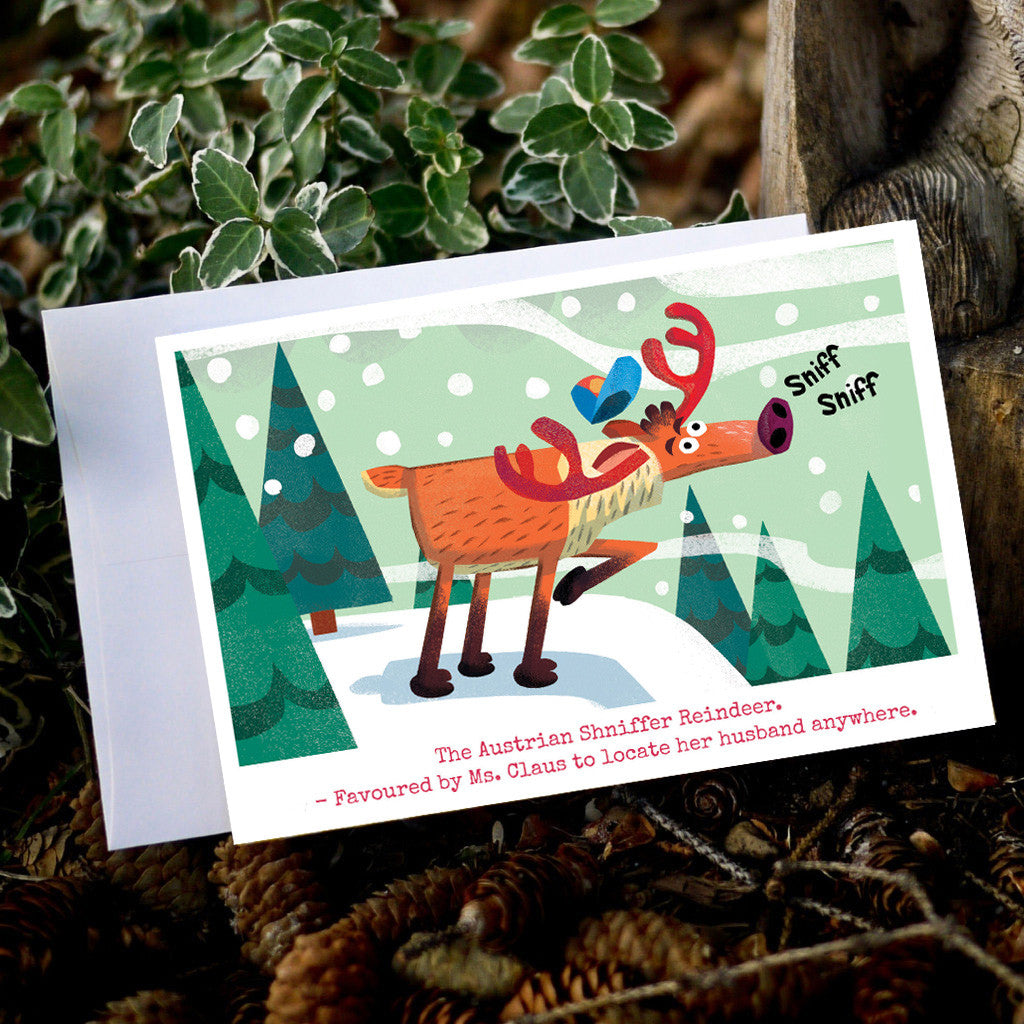 The Austrian Shniffer Reindeer card