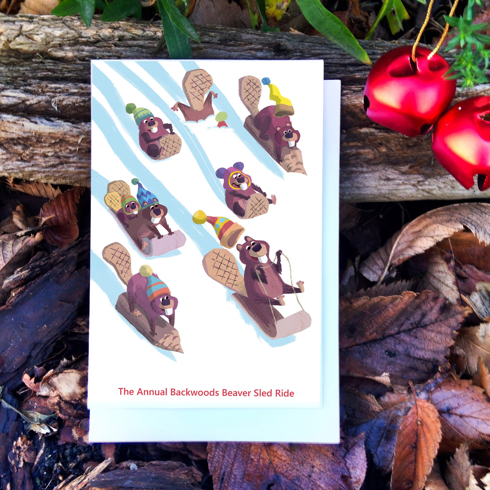 Beaver Sled Race Holiday Card