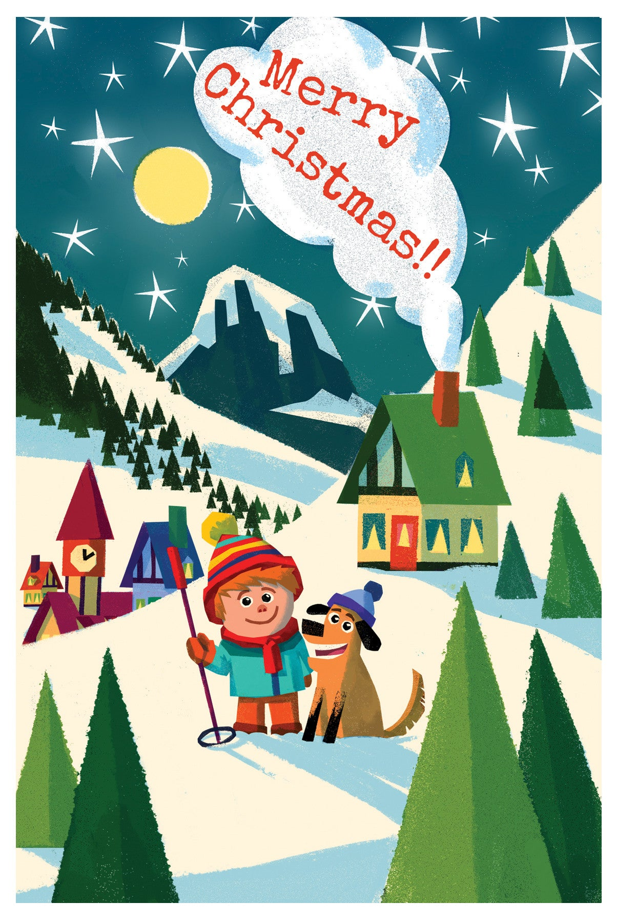 Boy and Dog Christmas Card - Scratch n' Sniff series