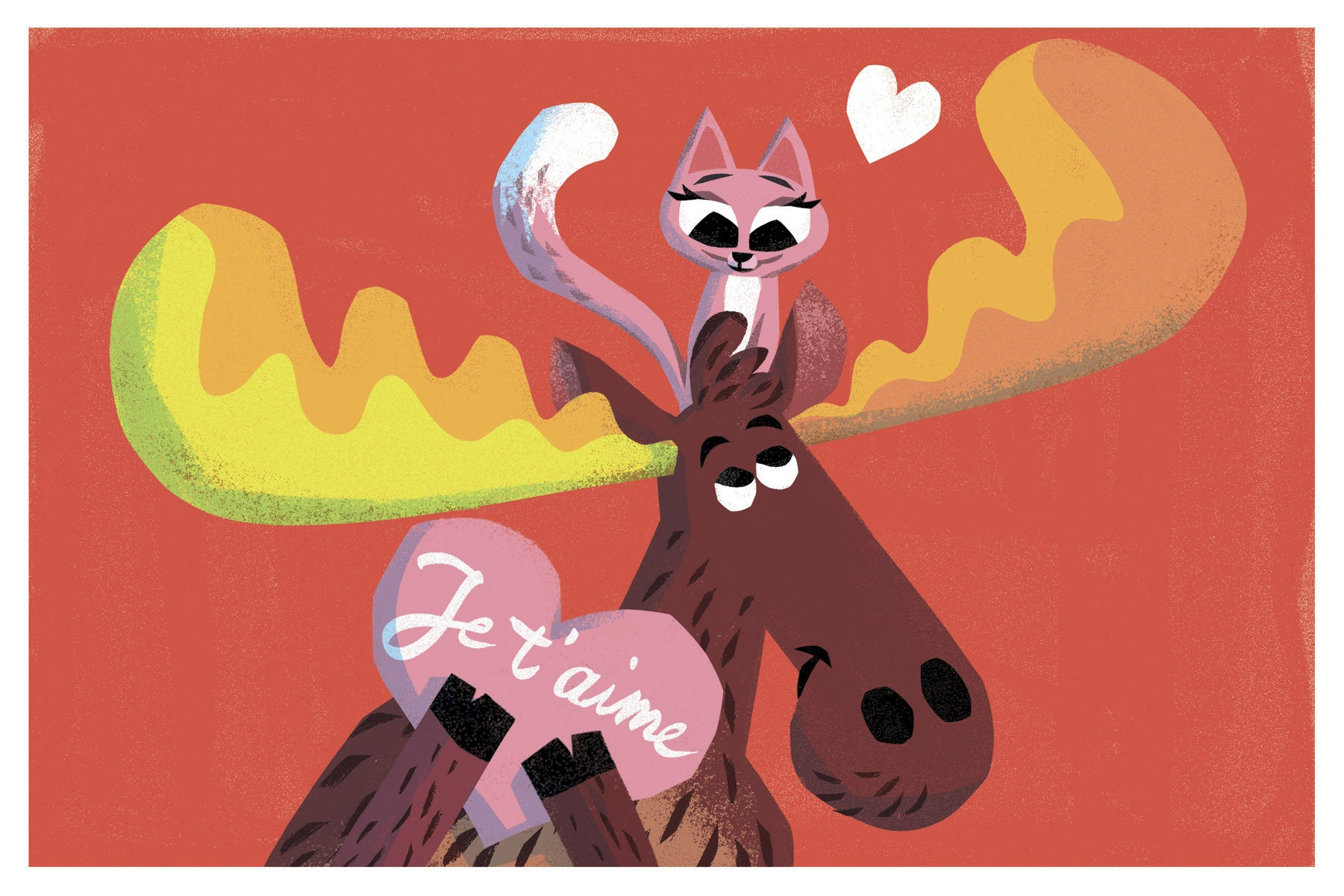 Cat and Moose Je t'aime Card