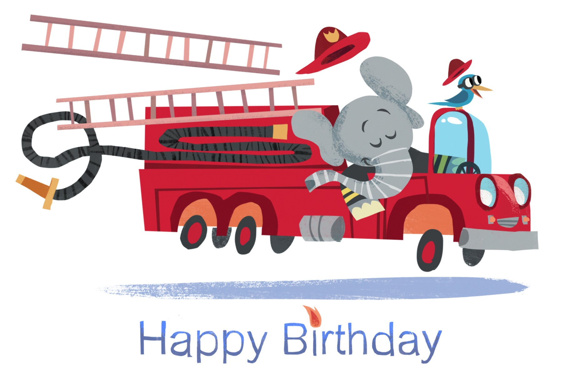 Firetruck Birthday Card
