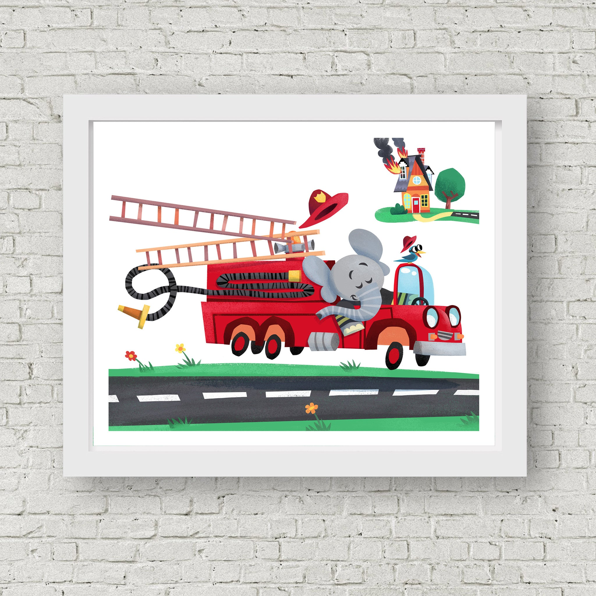 firetruck wall art firetruck nursery firefighter print elephant