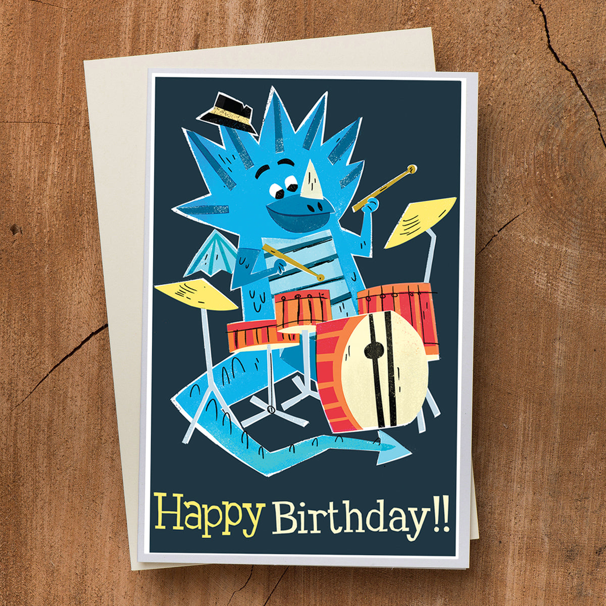 Dragon Drummer Birthday Card