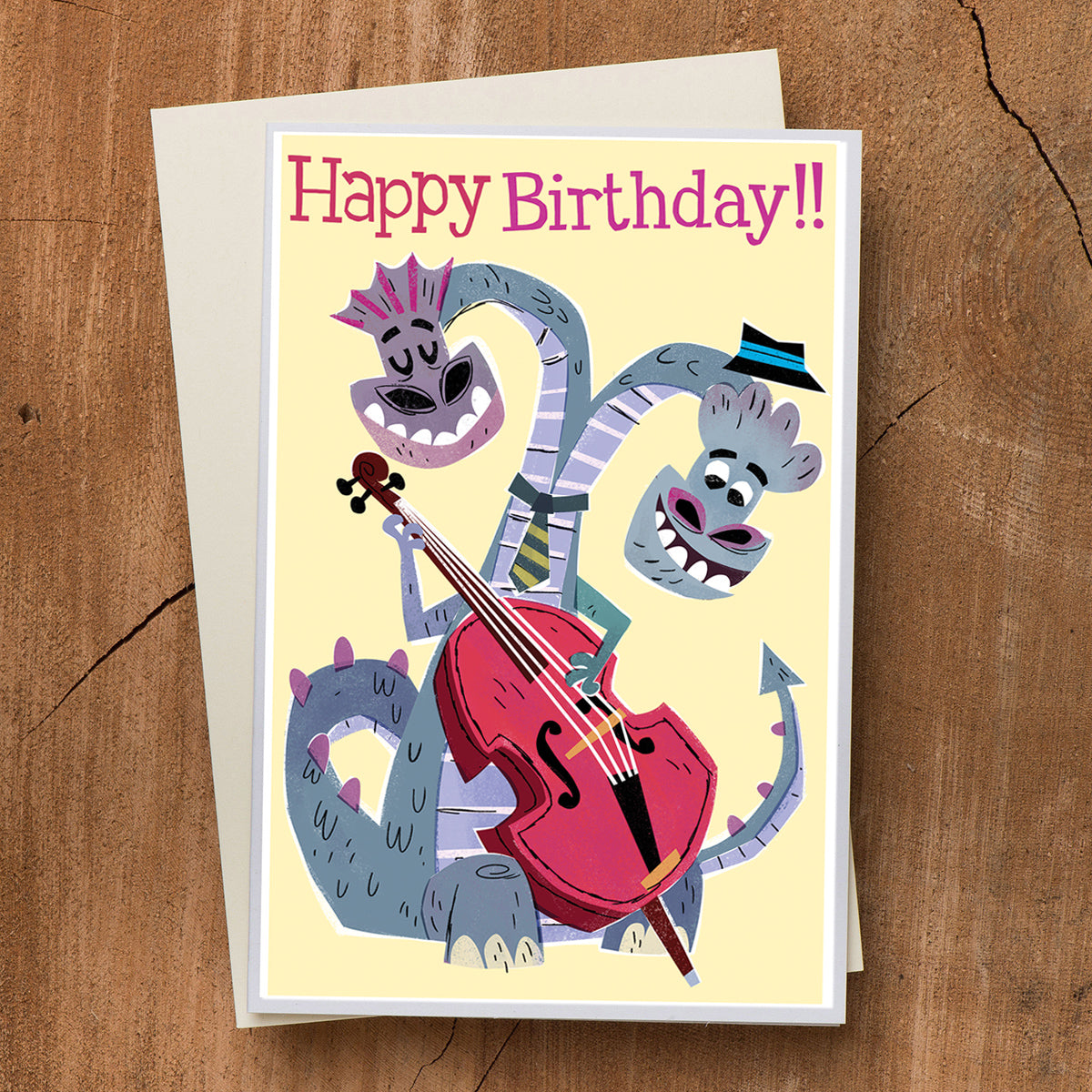 Dragon Bassist Birthday Card