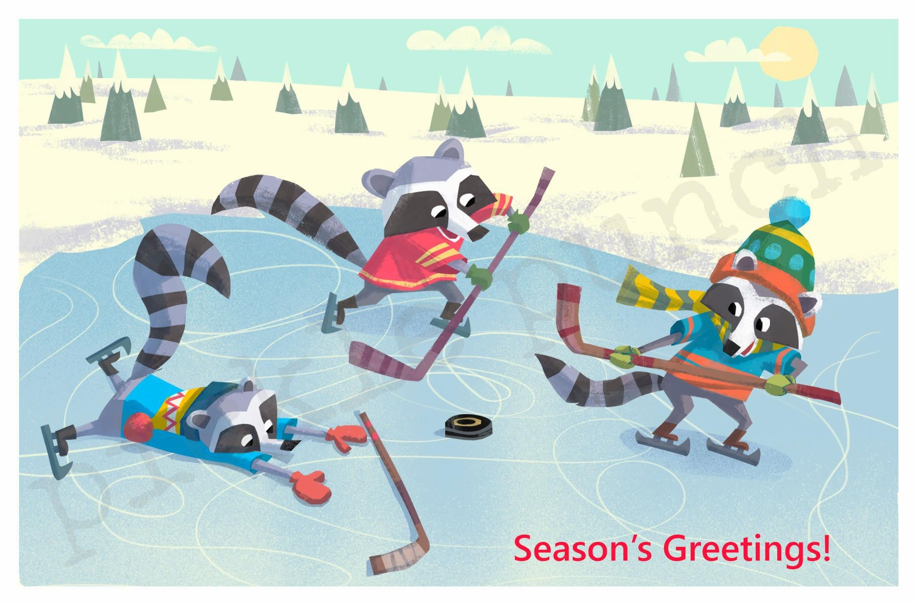 Raccoons Play Hockey Card