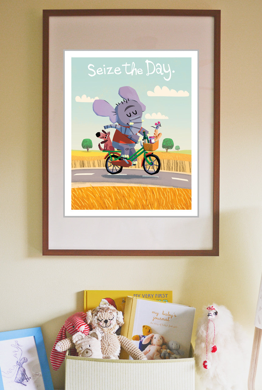 Seize the Day Print - Elephant, Mouse, and Dog