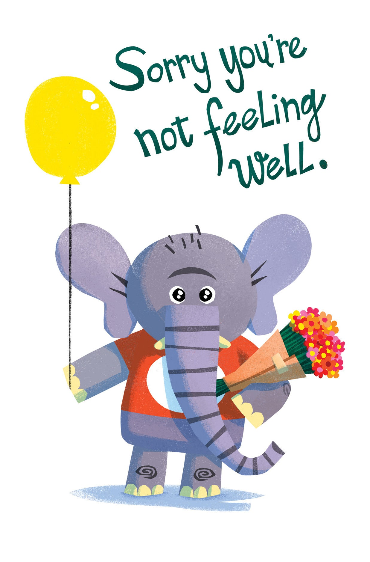 Feel Better Soon Elephant Card - Scratch n' Sniff Series