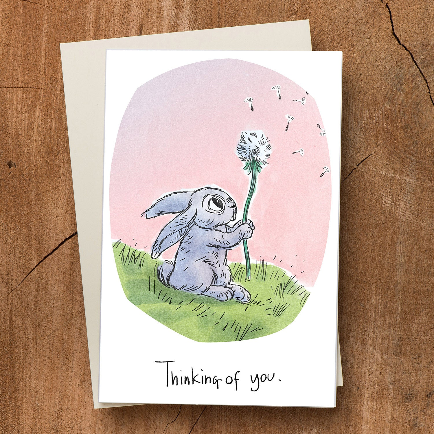 Rabbit and Flower Thinking of You Card