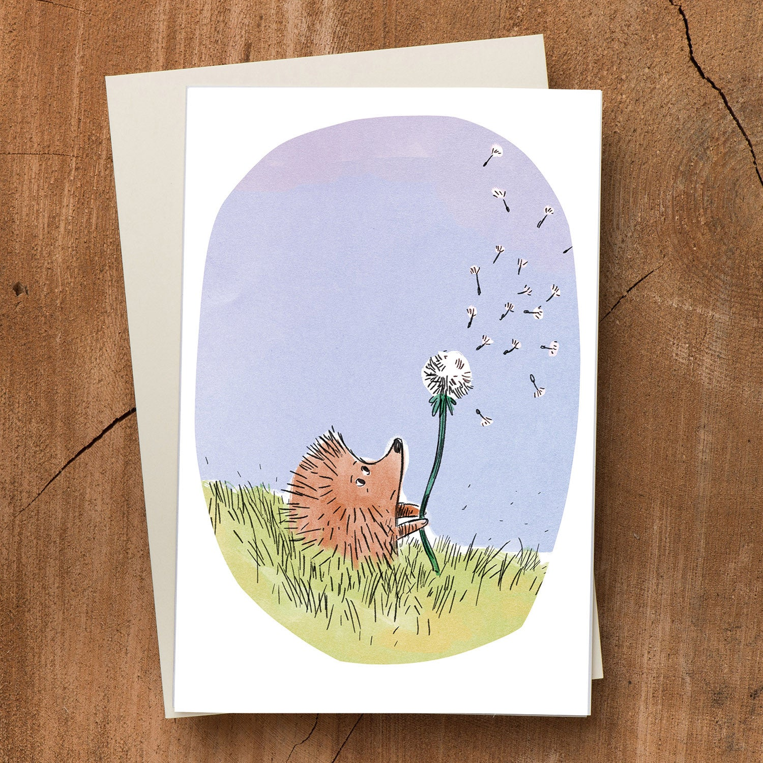 Hedgehog & Dandelion Blank Card - Scratch n' Sniff Series