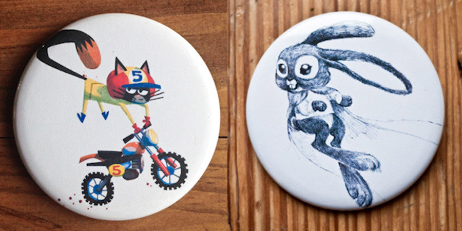 Daredevil Cat and Super Bunny Button or Magnet Set