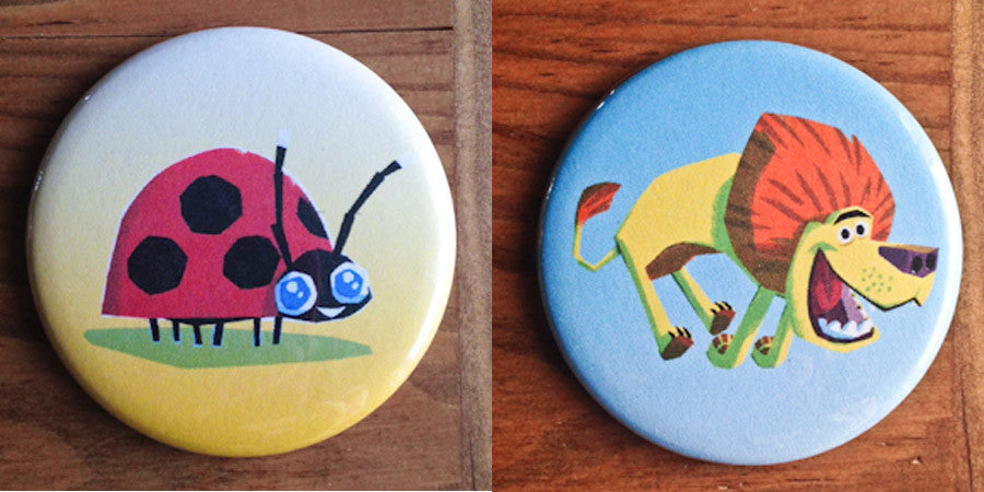 Lion & Ladybug Button or Magnet Set