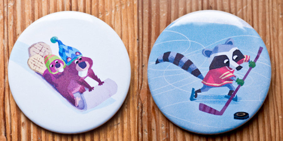 Raccoons and Beavers - Christmas Button or Magnet Set