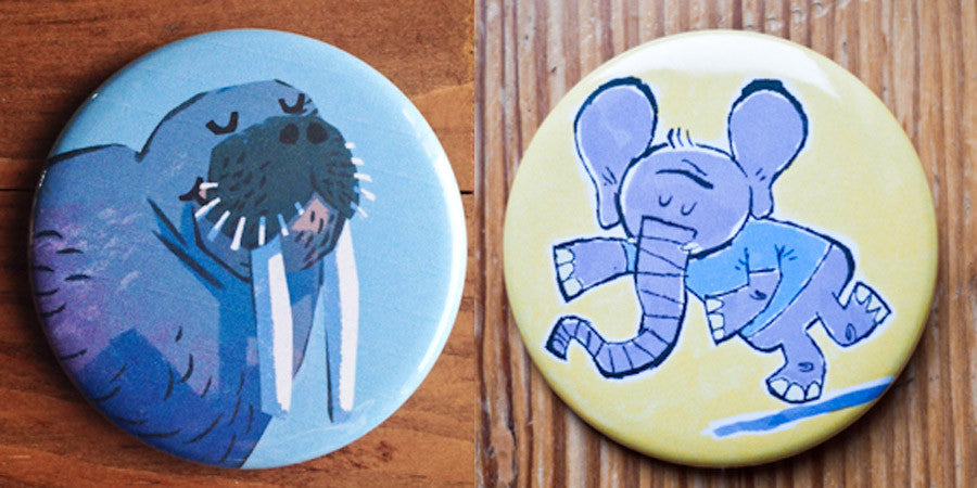 Walrus and Elephant Button or Magnet Set