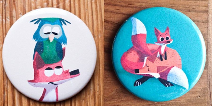 Foxes and Owl Button or Magnet Set